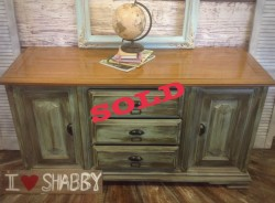 Rustic green sideboard