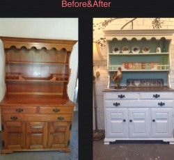 Farmhouse kitchen hutch before and after