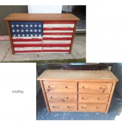 American flag painted dresser