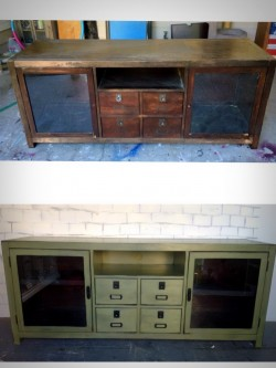 Pottery barn media console before and after