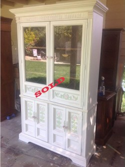 SOLD!!!!Flora painted China hutch