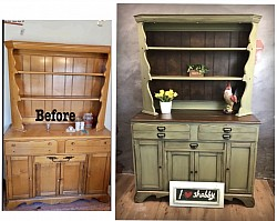 Rustic olive green hutch