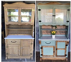 Hoosier style cabinet before and after